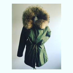 Natural Trim with Natural Faux  Lining Parka - Long Parka