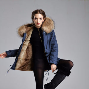 Blue Parka with natural Faux - short