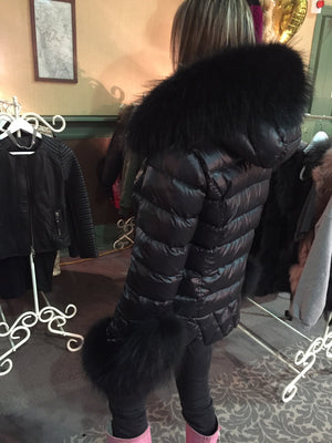 Quilted Down Jacket with  Fur Cuffs