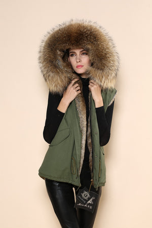 Raccoon Natural Trim with Faux Fur Lining Gilet