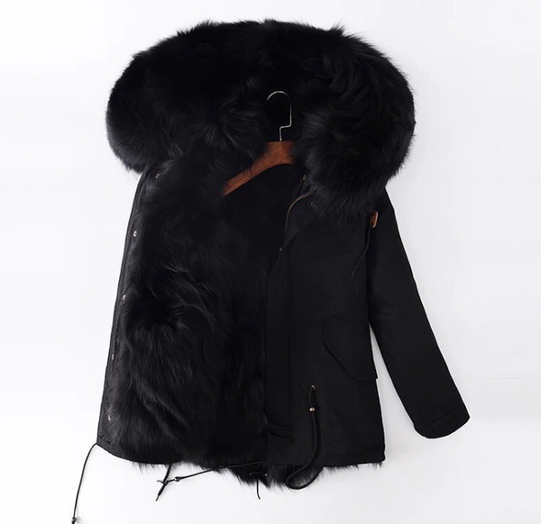 Black Parka with Black Fox Lining