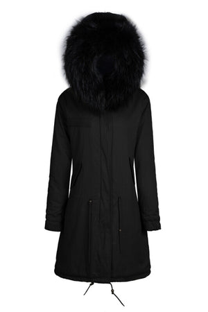 Black Parka with Faux Black Lining - Long
