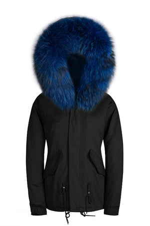 Raccoon Blue Trim with Blue Faux Fur Lining Parka - Short Parka