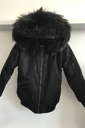 Black Bomber with Grey Raccoon Fur Hood