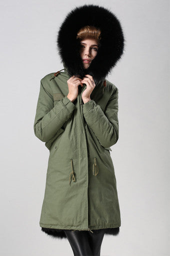 Green Park with Black Fox - Long Parka