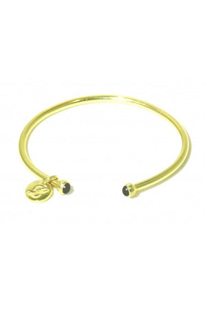 Gold Black Onyx Bangle