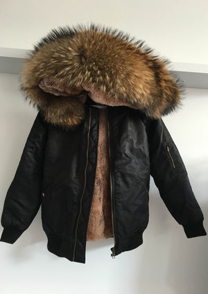 Black Bomber with Natural Raccoon Fur Hood