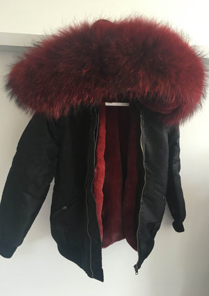 Black Bomber with Red Raccoon Fur Hood