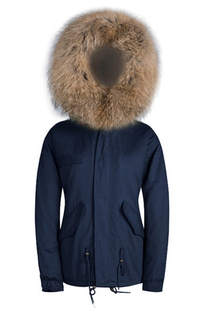 Raccoon Natural Trim with Natural Faux Fur Lining Parka - Short Parka