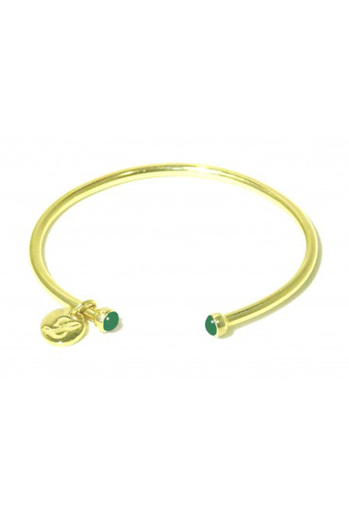 Gold Bangle with Green Agate