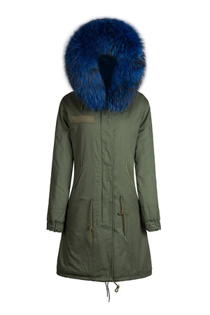 Green Parka with Blue Faux Fur Lining- Long