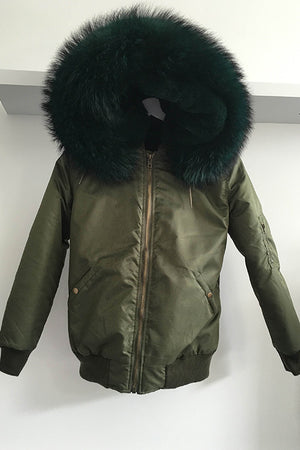 Army Green Bomber Jacket with Emerald Raccoon Fur Hood