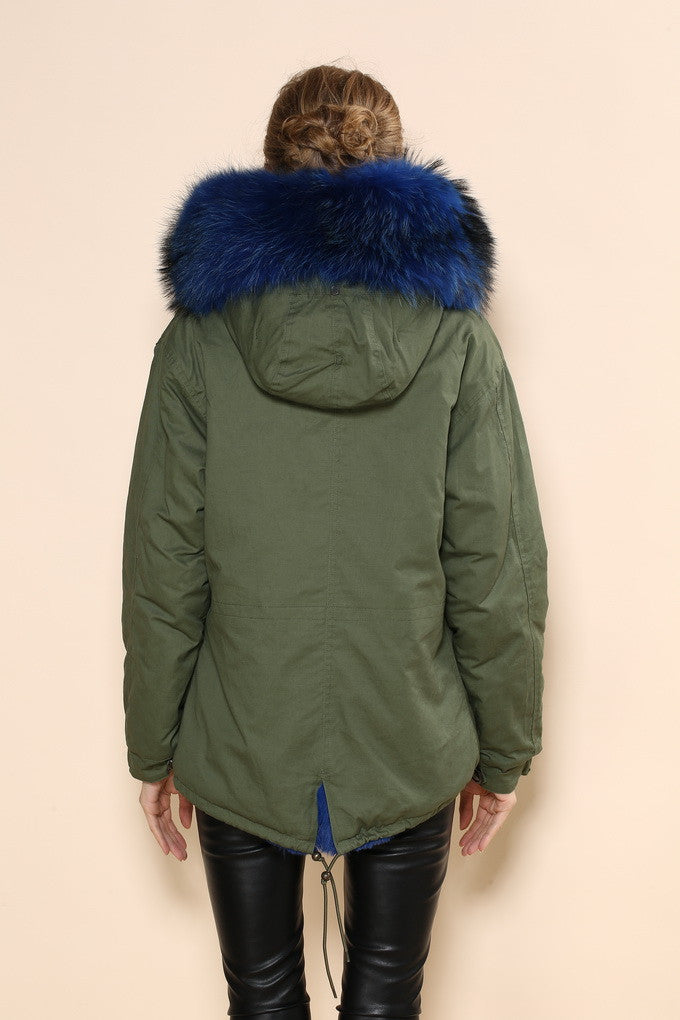 Green Parka with Blue Faux Fur Lining- Long - The Fashion Dollz 822669848e69