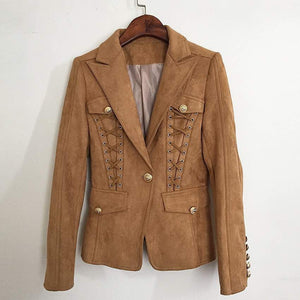 Suede Blazer with Gold Hardware