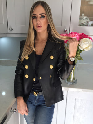 Leather Gold Hardware Blazer - Blazer