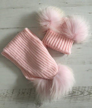Mini Double Pom Pom Hat and Scalve set