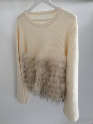 Fur knit Jumper -light grey