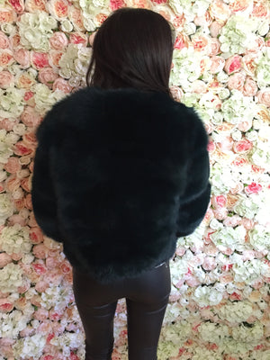 3/4 sleeve short fox coat