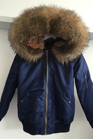 Blue Bomber with Natural Raccoon Fur Hood