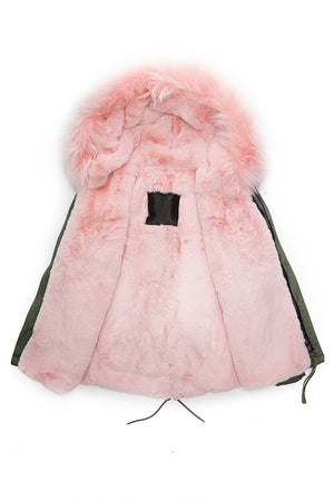 Raccoon Pink Trim with Pink Faux Fur Lining Parka - Short Parka