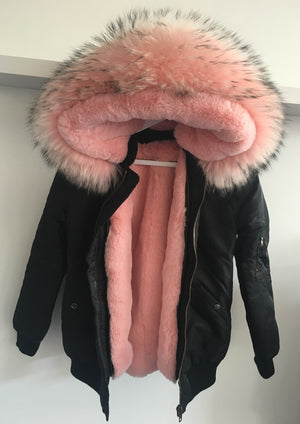 Black Bomber with Pink Raccoon Fur Hood
