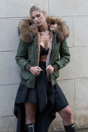 Army Green Bomber with Natural Raccoon Fur Hood