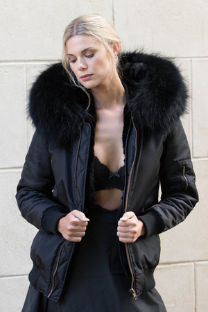 Black Bomber with Black Raccoon Fur Hood