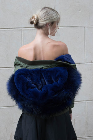 Green Bomber with Blue Raccoon Fur Hood