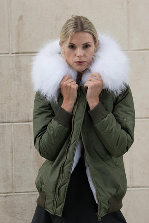 Army Green Bomber with White Raccoon Fur Hood