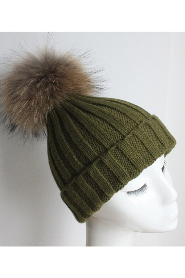 Army Green Knit Hat with Raccoon Pom
