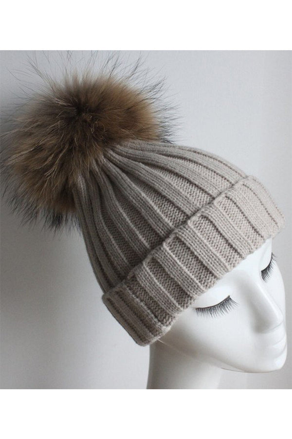 Beige Knit Hat with Raccoon Pom