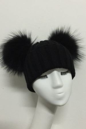 Black Double Pom Hat