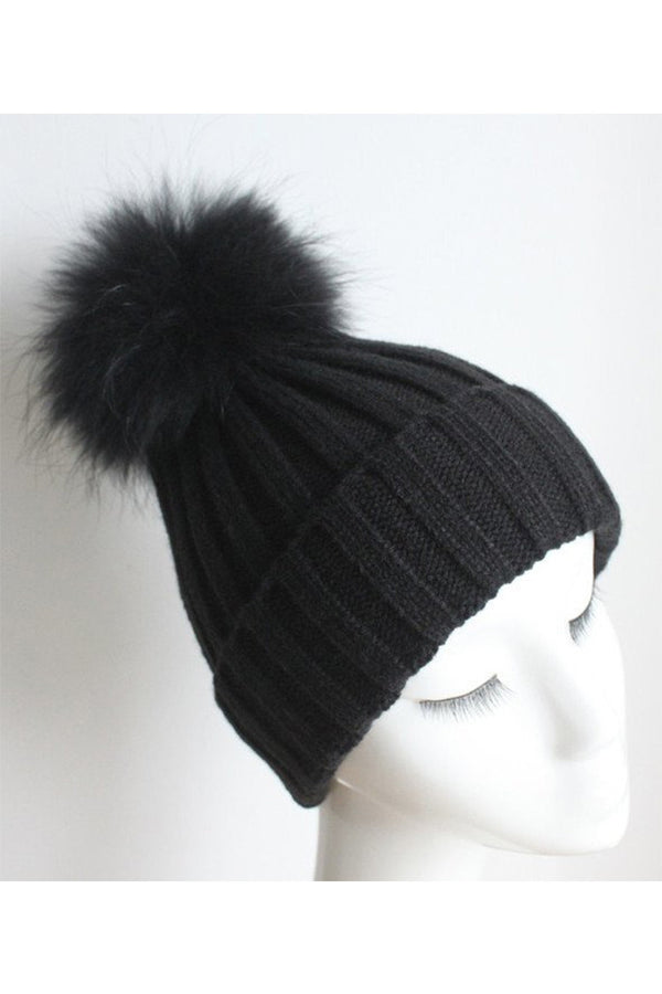 Black Hat with Black Pom Pom