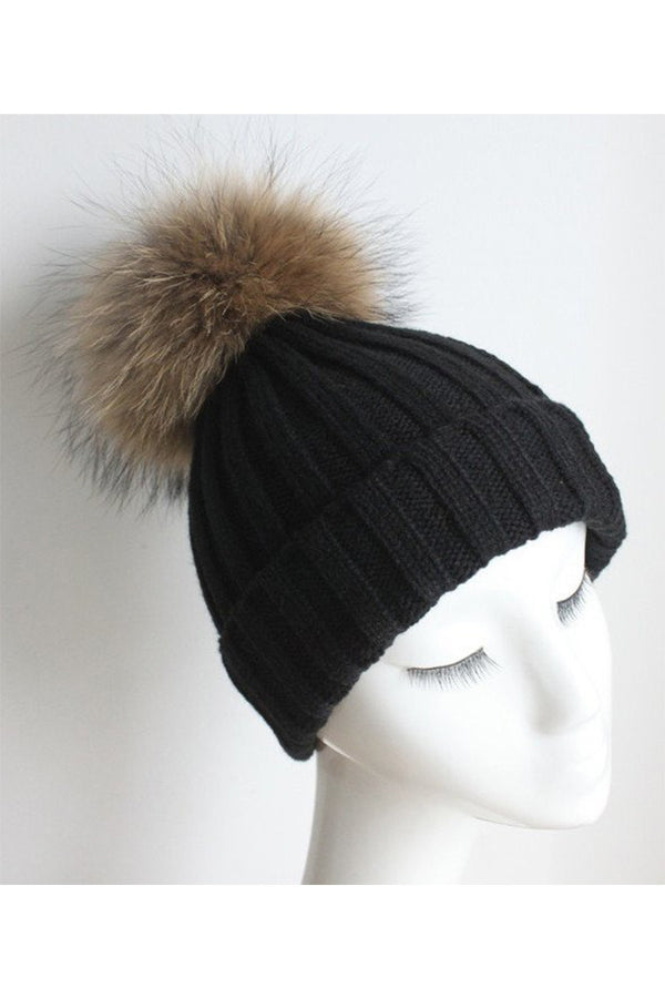 Black Knitted Hat with Raccoon Pom