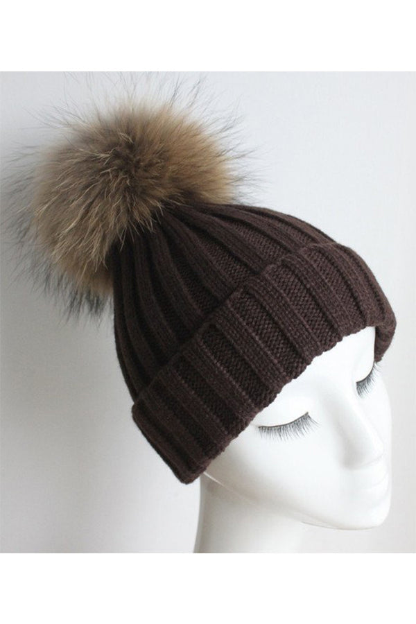 Brown Knitted Hat with Raccoon Pom