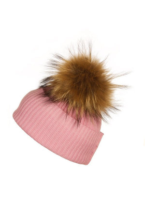 Pink Cashmere Hat with Raccoon Pom