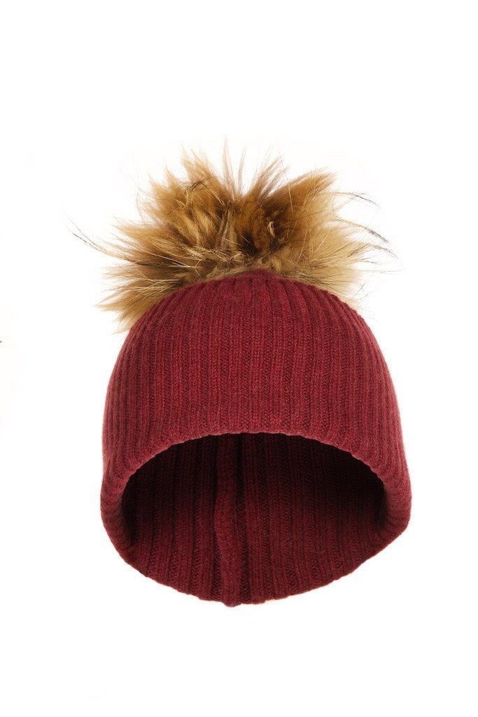 f107f4897e5 Scarlet Cashmere Hat with Natural Raccoon Pom - The Fashion Dollz