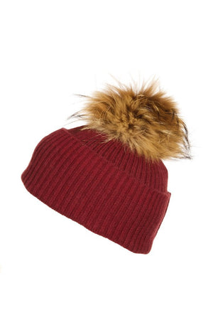 Scarlet Cashmere Hat with Natural Raccoon Pom
