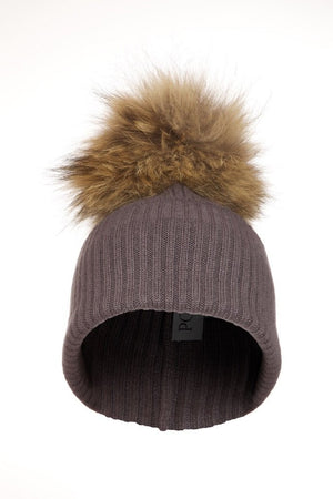 Dark Grey Cashmere Hat with Natural Raccoon Pom