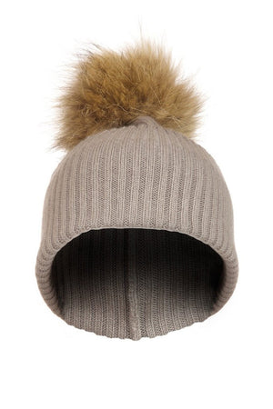 Grey Cashmere Hat with Raccoon Pom