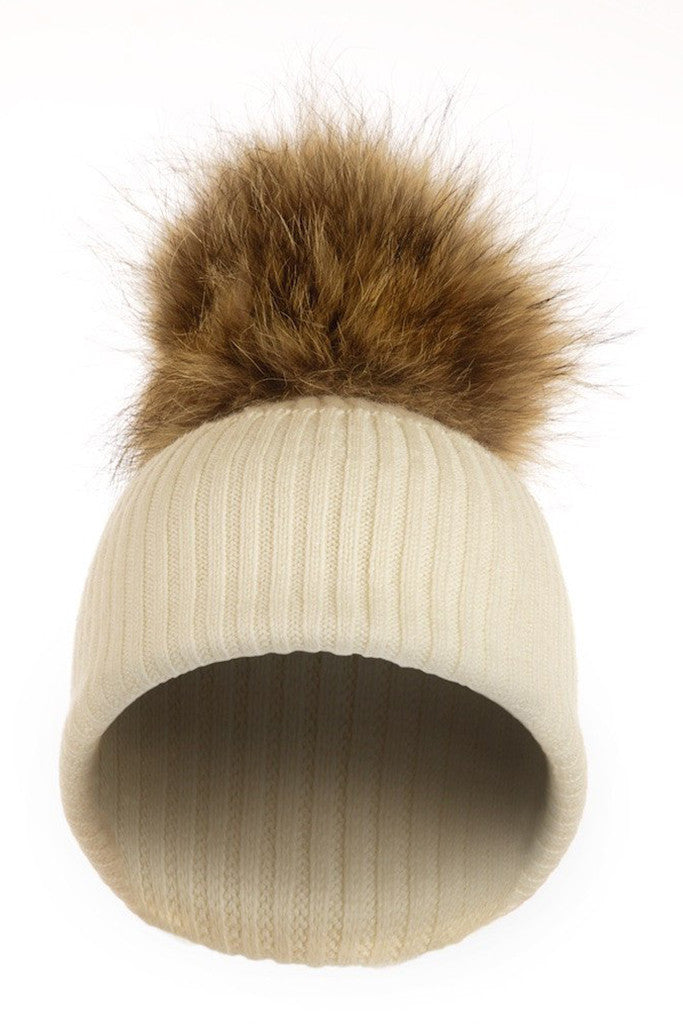 3081265e816 Ivy Cashmere Hat with a Natural Raccoon Pom