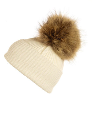 Ivy Cashmere Hat with a Natural Raccoon Pom