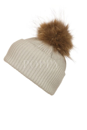 Light Grey Cashmere Hat with Natural Pom Pom