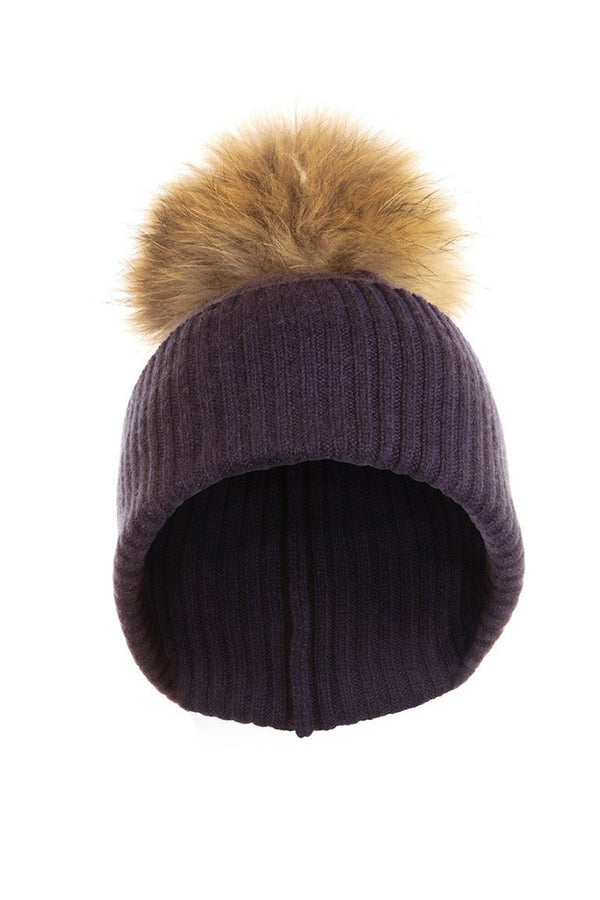 Navy Cashmere Hat with Natural Raccoon Pom