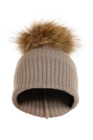 Oatmeal Cashmere Hat with Natural Raccoon Pom