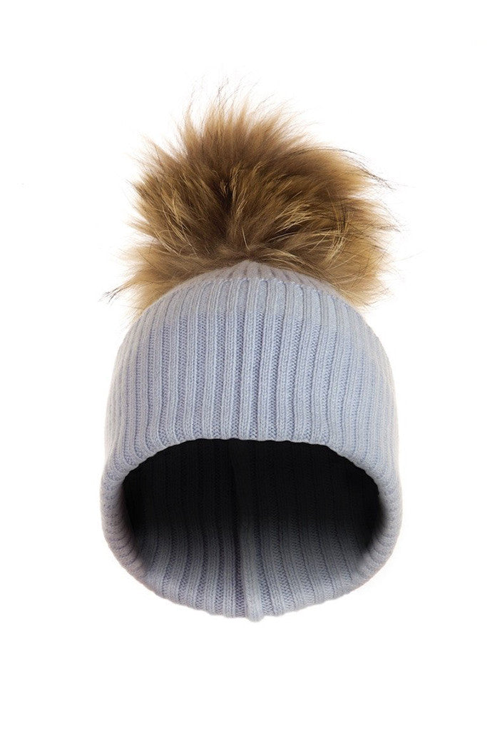 6ab96dd5dc9 Powder Blue Cashmere Hat with Natural Raccoon Pom
