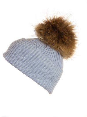 Powder Blue Cashmere Hat with Natural Raccoon Pom