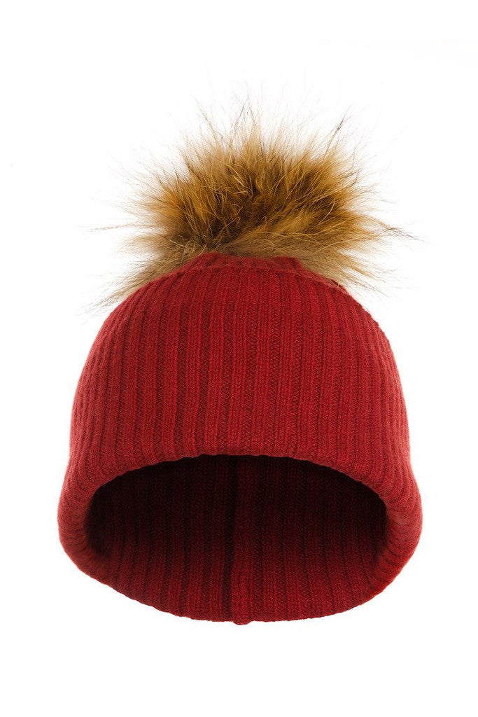 424c7995a01 Red Cashmere Hat with Natural Raccoon Pom