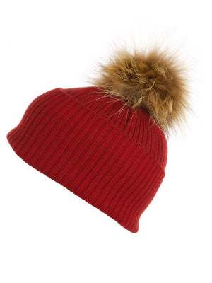 Red Cashmere Hat with Natural Raccoon Pom