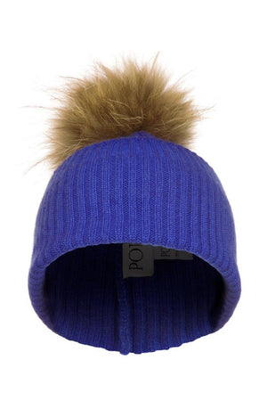 Royal Blue Cashmere Hat with Natural Raccoon Pom